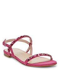 Stuart Weitzman Trailmix Jeweled Suede Flat Sandals Snow