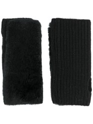 Yves Salomon Ribbed Mittens Black