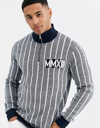 Only And Sons Quarter Zip Vertical Stripe Jumper In Blue