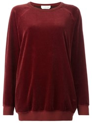 Chloe Long Velour Sweatshirt Red
