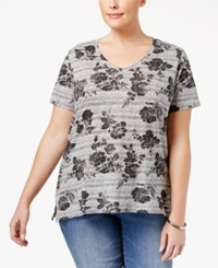 Styleandco. Style Co. Plus Size Rose Print T Shirt Only At Macy's Grey Combo