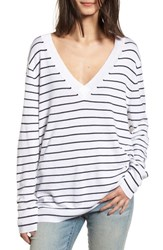 Treasure And Bond Slouchy Sweater White Little Stripe