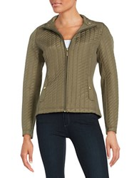 Weatherproof Plus Quilted Zip Front Jacket Safari Khaki