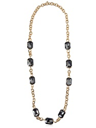 Dsquared Long Chain Necklace With Crystals Gold Black