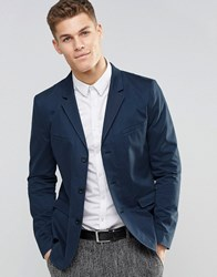 Asos Skinny Blazer In Washed Cotton In Blue Blue