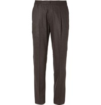 Rubinacci Green Pleated Wool And Cashmere Blend Flannel Suit Trousers Green