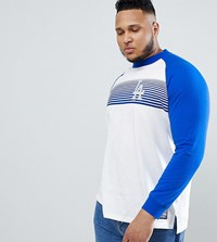 Majestic Raglan Long Sleeve T Shirt With L.A Dodgers Panel Print In White