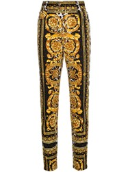 Versace High Waist Patterned Skinny Jeans Yellow And Orange