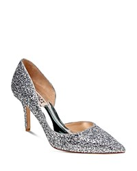 Badgley Mischka Daisy Glitter Half D'orsay Pointed Toe Pumps Silver