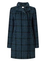Eastex Check Wool Coat Turquoise