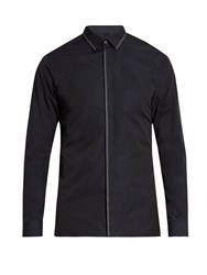 Lanvin Button Cuff Stitch Detail Cotton Poplin Shirt Navy
