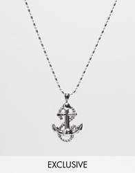 Reclaimed Vintage Anchor Necklace Silver