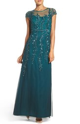 Adrianna Papell Women's Sequin Mesh Fit And Flare Gown