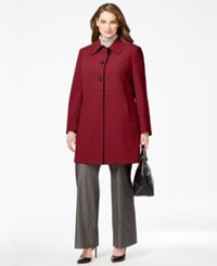Larry Levine Plus Size Seam Detailed Walker Coat Red