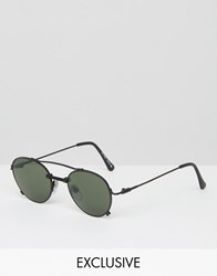 Reclaimed Vintage Aviator Sunglasses Black