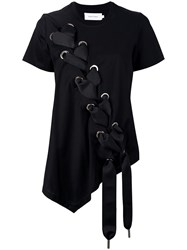 Marques Almeida Marques'almeida Oversize Lace Up T Shirt Women Cotton S Black