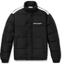 Palm Angels Striped Logo Print Quilted Shell And Canvas Down Jacket Black