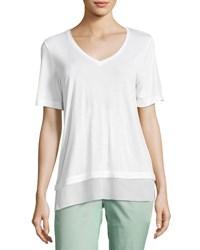 Vince Chiffon Trim Short Sleeve Tee Off White