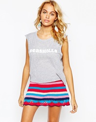 Wildfox Couture Wildfox Cropped Vest With She Sells Sea Shells Print Greymarl