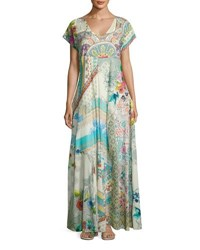 Johnny Was Leyla Short Sleeve Cotton Maxi Dress Multi
