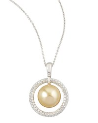 Golden South Sea Pearl And Diamond Halo Necklace 0.7Ct Eli Jewels Blue