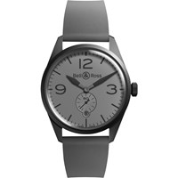 Bell And Ross Brv123 Commando Men's Vintage Original Automatic Rubber Strap Watch Grey