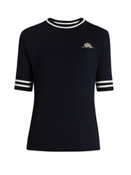 Muveil Dinosaur Embroidered Ribbed Knit Cotton Top Navy