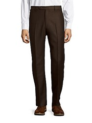Zanella Todd Solid Woolen Pants Brown