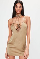 Missguided Petite Exclusive Brown Hammered Satin Choker Neck Lace Up Dress