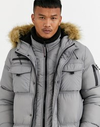 Good For Nothing Puffer Parka Coat In Grey With Faux Fur Hood