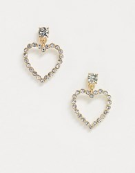 Accessorize Exclusive Diamante Heart Drop Earrings In Gold