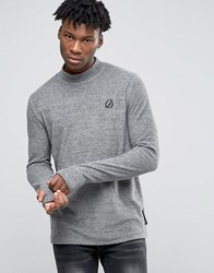 Criminal Damage Long Sleeve T Shirt With Turtle Neck Grey