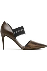 Brunello Cucinelli Woman Bead Embellished Frayed Textured Leather Pumps Chocolate