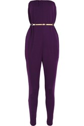 Halston Heritage Satin Jersey Jumpsuit Dark Purple