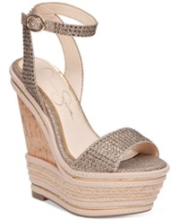 Jessica Simpson Alass Two Piece Wedge Sandals Women's Shoes Gold Sparkle Mesh