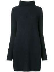 N.Peal Ribbed Knit Sweater Dress Grey