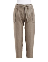 424 Fifth Petite Cropped Linen Ankle Pants Dark Olive