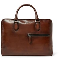 Berluti Un Jour Polished Leather Briefcase Brown