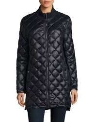 French Connection Quilted Long Coat Black