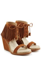 Paul Andrew Fringed Suede Sandals Brown