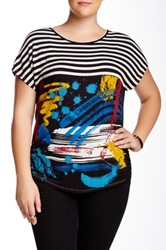 Vanilla Sugar Brush Paint Tee Plus Size Black