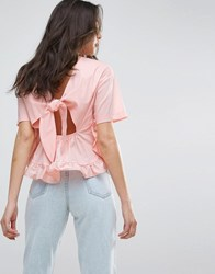 Lost Ink Frill T Shirt With Tie Up Bow Back Pink
