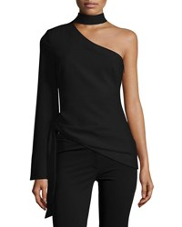 Cinq A Sept Briah One Shoulder Tie Side Top Black
