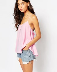 Glamorous Cami Top With Cross Back Fresh Pink Leopard