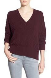 1.State Bubble Stitch V Neck Sweater Red