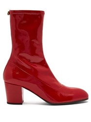 Gucci Pryntil Patent Leather Boots Red