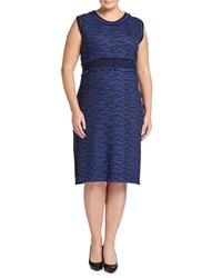 Ming Wang Plus Sleeveless Banded Waist Knit Dress Blue Black