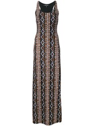 Fisico Patterned Fitted Maxi Dress Black