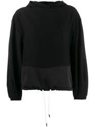 8Pm Chastain Hooded Crepe Top Black