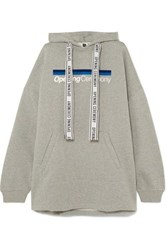 Opening Ceremony Torch Oversized Printed Cotton Jersey Hoodie Light Gray